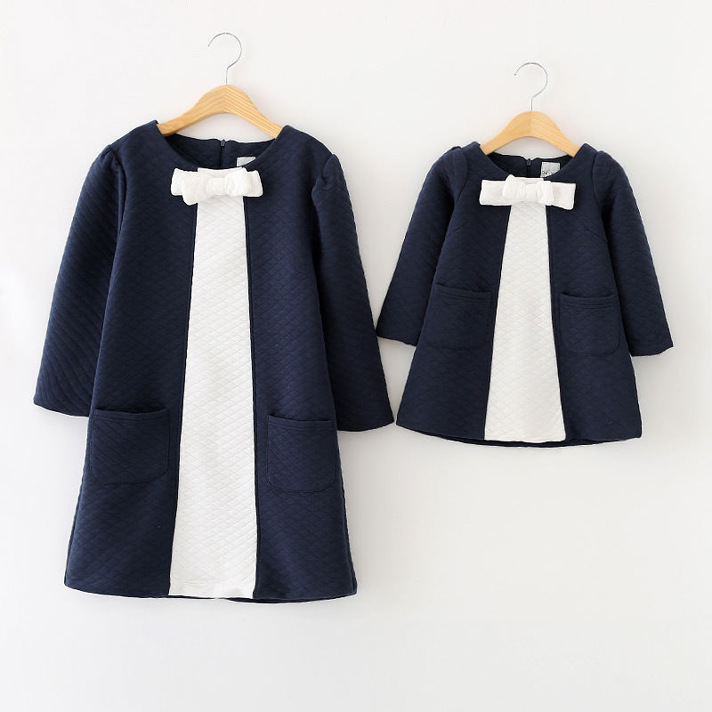 ФОТО Spring new matching mother daughter clothes bow patchwork mother daughter dresses party mom and daughter dress family look dress