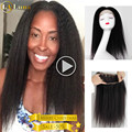 8A Brazilian Kinky Straight Hair 360 Frontal Pre Plucked 360 Lace Frontal Closure With Baby Hair Full Lace Wigs Hair Frontal