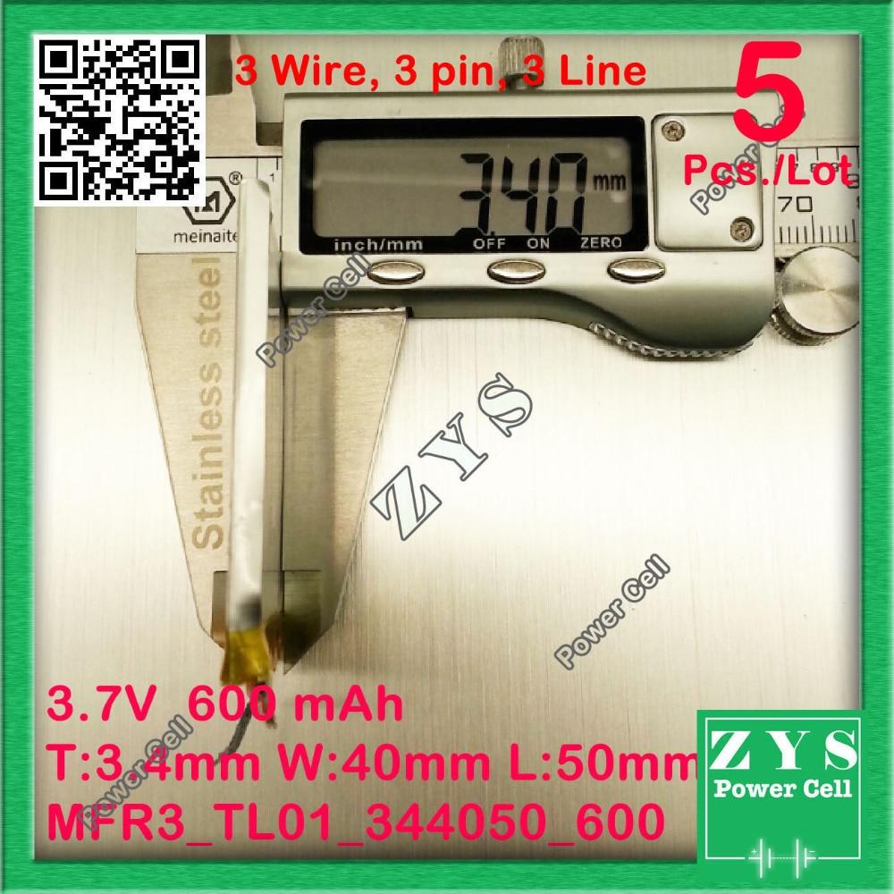 5 pcs./Lot 3 wire li-ion <font><b>battery</b></font> 3.7v 600mAh rechargeable <font><b>battery</b></font> 3.7 v <font><b>600</b></font> <font><b>mah</b></font> Size: 3.4x40x50mm