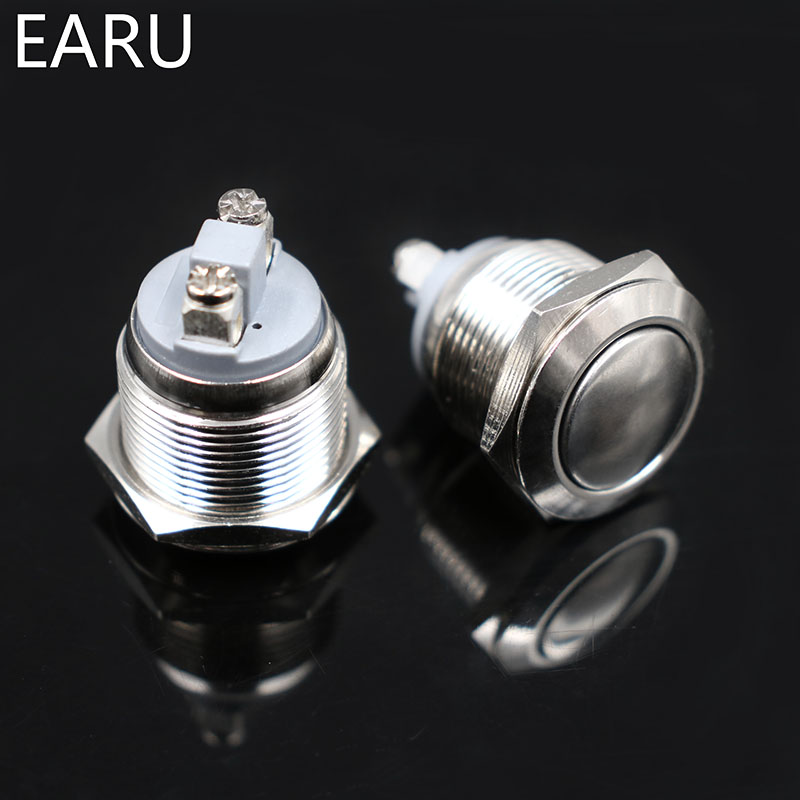 HTB1kSiwc6gy uJjSZR0q6yK5pXaW - 16mm Metal Push Button Switch NO Momentary Reset Self-reset Brass Nickel Plated Screw Car Engine PC Power Round Flat High Head