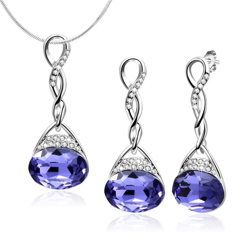 New Arrival Jewelry Sets Infinity With Purple Crystal Necklace Earring Sets For Women Ac ...