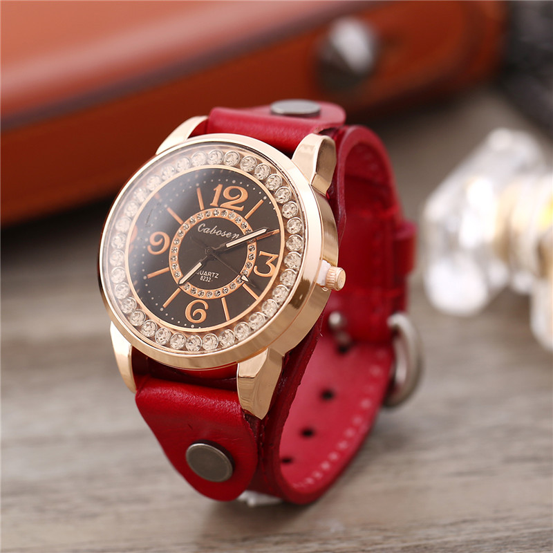 Women Quartz Wrist Watches For Women Rose Gold Color Round Crystal Ladies Watch Red Leather Casual Hand Clock Montre Femme