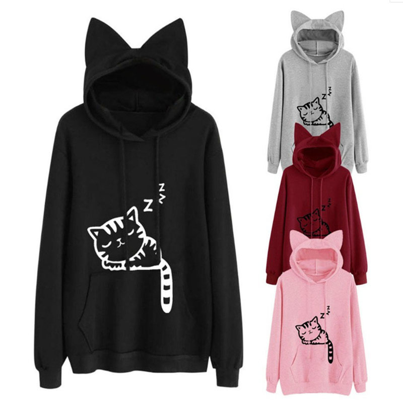 2019 Women Sweatshirt Loose Fleece Print Cat Sweatshirt Women, Casual Kawaii Tops Women's Hoodies