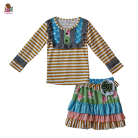 Casual Style Kids Clothing Girls Set Brown Striped Top With Bib Floral Ruffle Cotton Skirts Spring