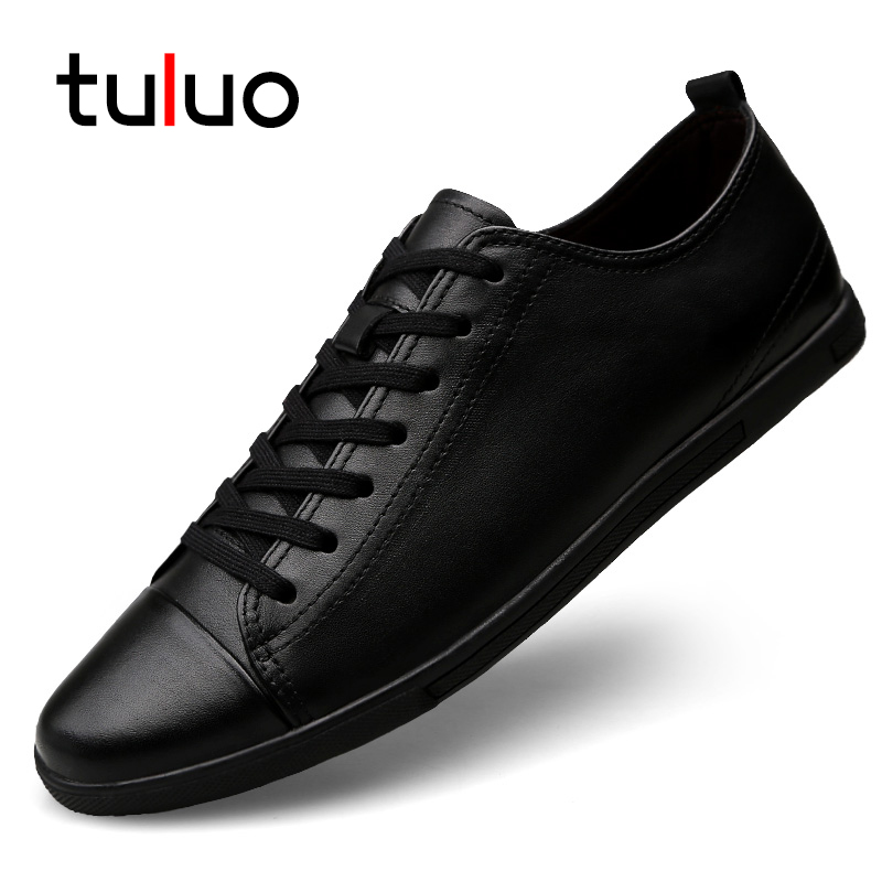 TULUO High Quality Fashion Walking Male Breathable Comfortable Leather Flat Shoes Men Shoes Lace-up Casual Shoes Tenis Masculino стоимость