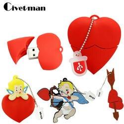 Ручка U диск мультфильм красное сердце лучший подарок 4ГБ 8ГБ 16ГБ 32ГБ 64ГБ основная USB флешка флэш-памяти флешки мини-Амур