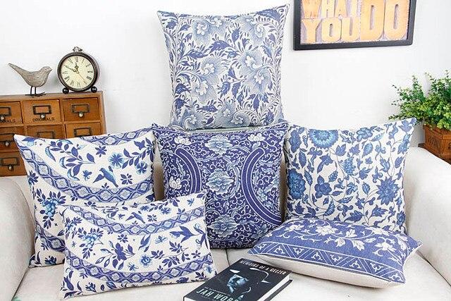 Divano In Lino Bianco : Blu e bianco porcellana fiore home decor cuscino cuscino decorativa