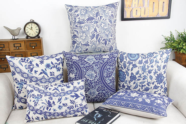 Blue And White China Flower Home Decor Pillow Cushion /Decorative
