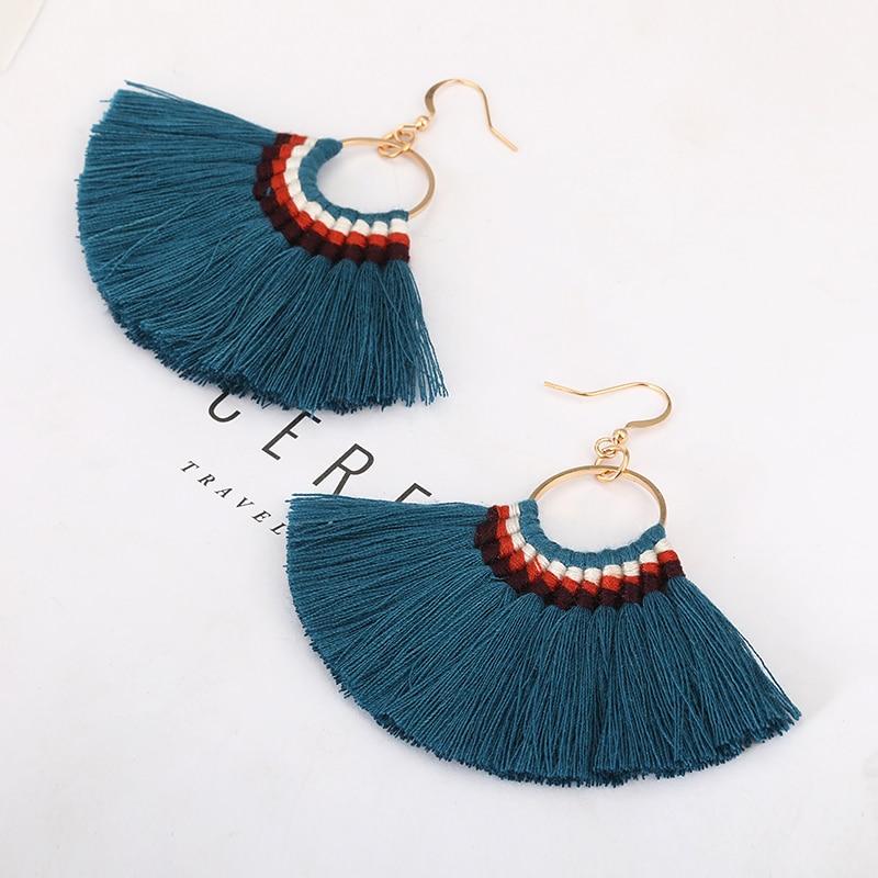 LOVBEAFAS Bohemian Handmade Tassel Earrings For Women Vintage Long Drop Boho Earrings Cotton Rope Weave Fringe Sector Jewelry
