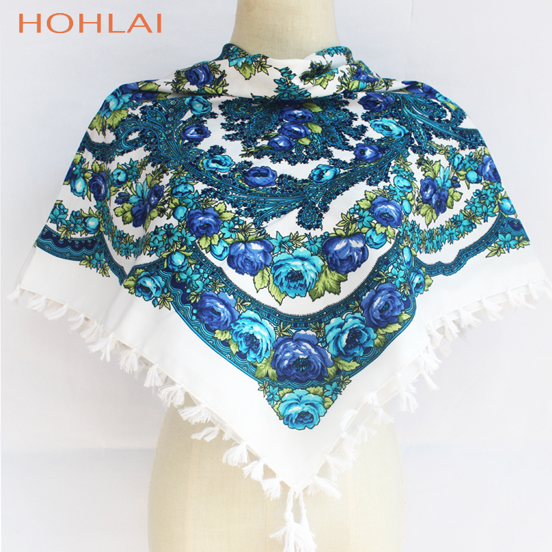 Fashion Russian Women Tassel Square   Scarf   Shawl Lady Printed Floral Short Tassel Headband Retro Cape   Wrap     Scarves   90*90cm YG598