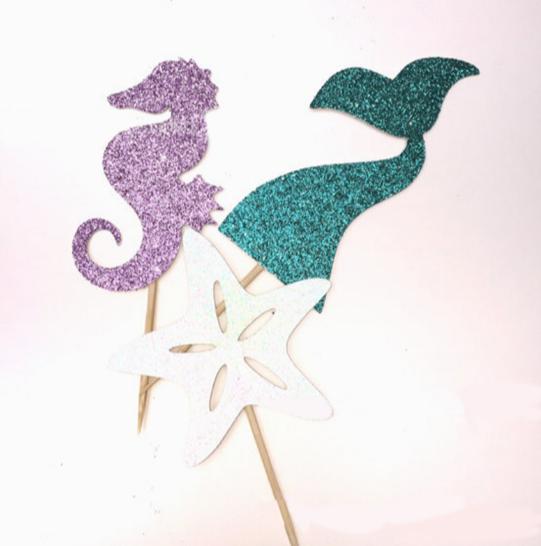 מקלות סנפיר - לעיצוב וקישוט מסיבת יום הולדת - קונספט חוף ים, בת הים הקטנה - להזמנה לוקו0ט