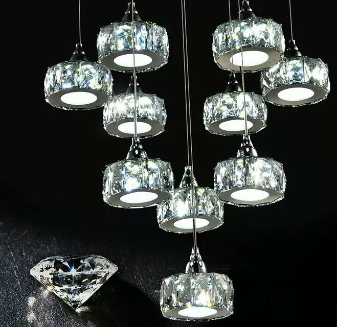Beautiful Silver Crystal Chandelier Light Fixture Aluminum Hanging Lamp Crystal Light for Dining Bedroom Brazil Free Shipping