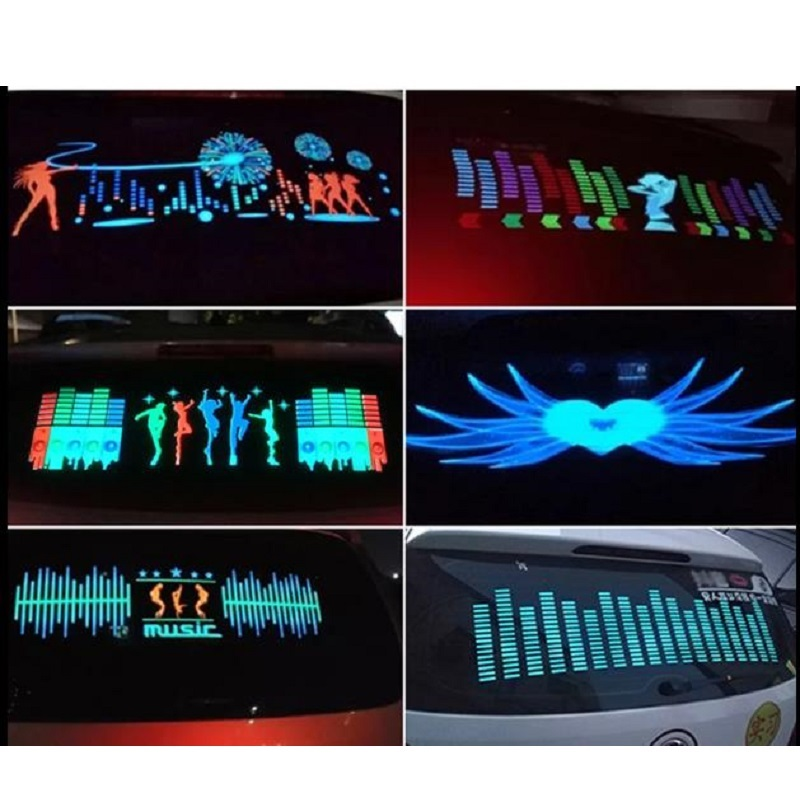 Cool Car Sticker Music Rhythm Changes Jumpy Sticker <font><b>LED</b></font> Flash Light Lamp Sound Activated Equalizer Neon EL Rear Window Styling image