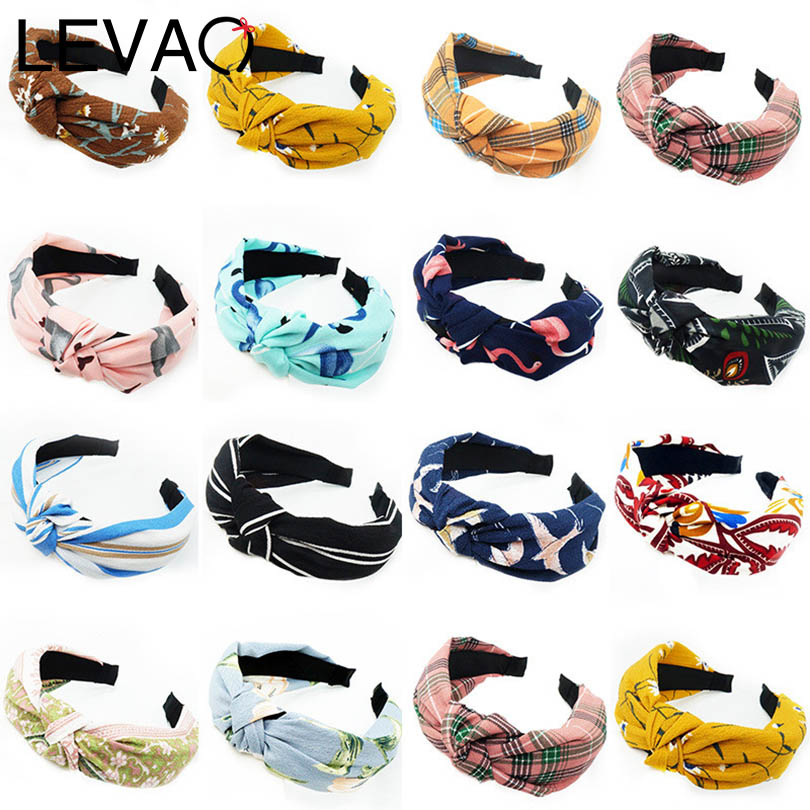 LEVAO Wild Plaid Print Stripe Bezel Solid Knotted Design Bohemian Women Headbands Lady Hairbands Girls Hair Accessories   Headwear