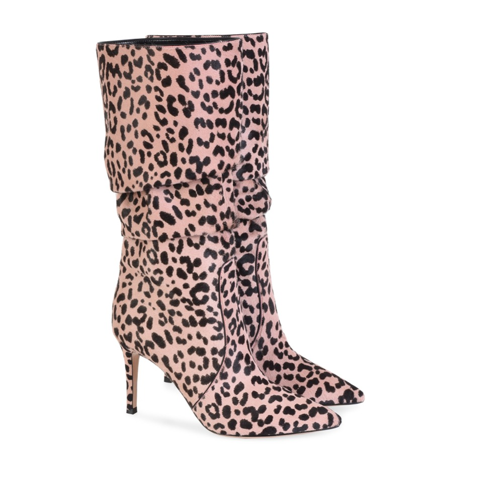 Plus Size 44 45 46 White Leopard Horse Hair Knee High Boots Pointed Toe Pink Long Boots Ladies Brown Winter Shoes fashion horse hair tassels leather leopard pattern flat shoes black brown pair 37
