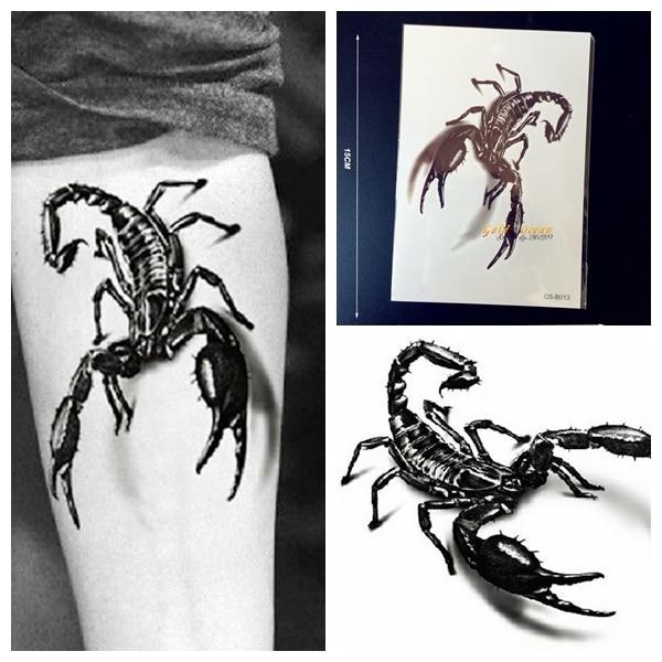 1 Unid Grande 3d Metálico Negro Rey Escorpión Tatuaje Temporal