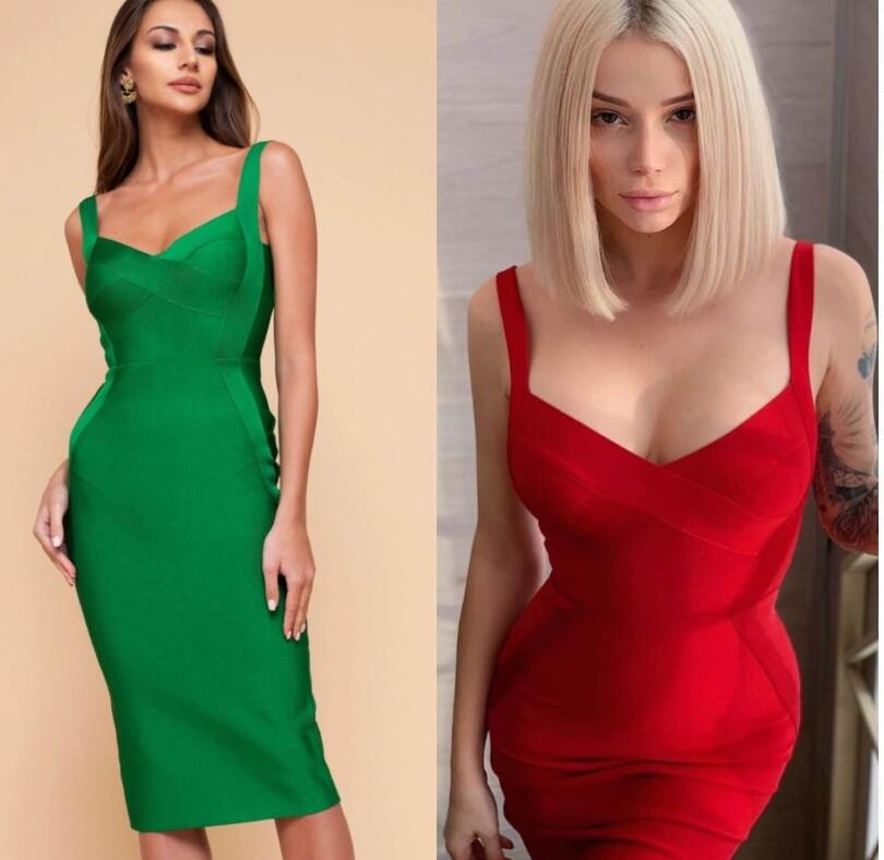 High Quality Yellow Green Red Bodycon Knee Length Rayon Bandage Dress Evening Party Dress