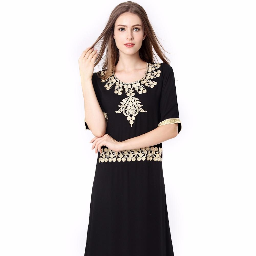 Muslim Maxi kleid Schwarz Abaya Stickerei Jilbab Lange Robe Kleider ...