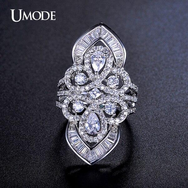 Prix pour UMODE Vintage Style Magnifique Couronne Anneau Avec Multi-en forme Cubique Zircone Or Blanc Couleur Bijoux Anneau UR0206
