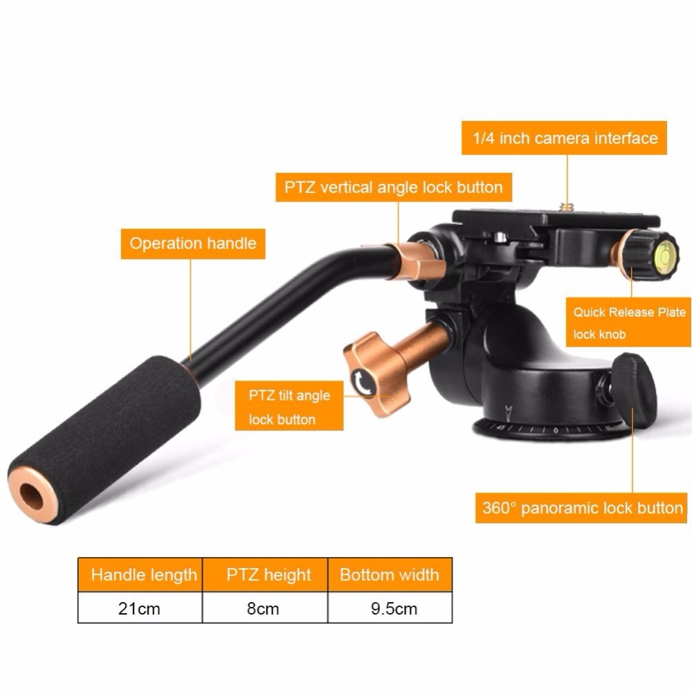 3-Way Fluid Head Video Tripod Ball Heads Q08S with Quick Release Plate Rocker Arm for DSLR Camera Tripod Monopod fluid head rocker arm camera tripod head quick release hydraulic damping panoramic ptz tripod ball head for camera