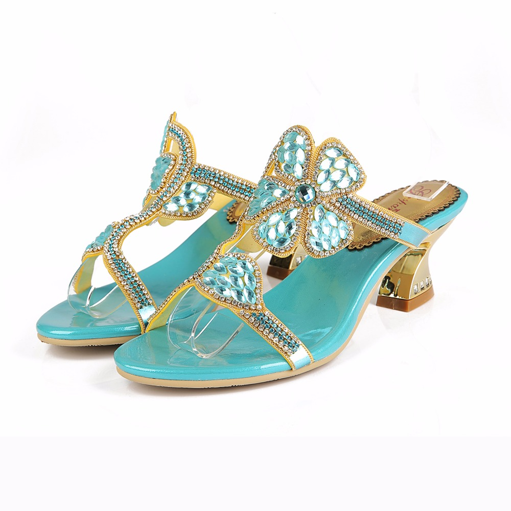 ФОТО 2017 Summer Fashion Sexy Blue Flower Rhinestone Slippers Square Heel High Heels Sandals Women Party Crystal Sandals Woman Shoes
