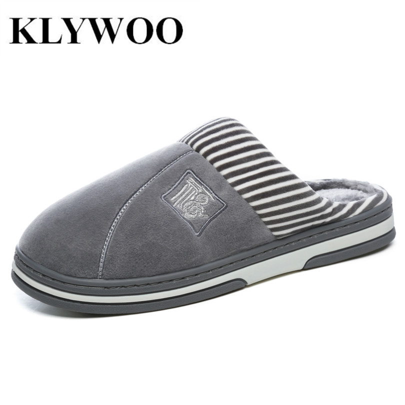 KLYWOO Big Size 45 46 Men Shoes Winter Slippers Warm Soft Slippers Non-slip Home Fur Plush Shoes Slippers Floor Home Shoes Men soft plush big feet pattern novelty slippers