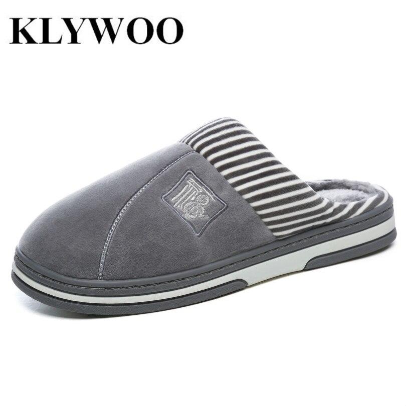 KLYWOO Grande Taille 45 46 Hommes Chaussures Hiver Chaussons Doux et Chaud Pantoufles Non-glissement Maison Fourrure En Peluche Chaussures Pantoufles plancher Maison Chaussures Hommes