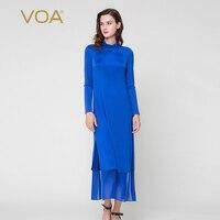 VOA sapphire blue long sleeved piles collar dresses retro stretch silk knit dress A7295