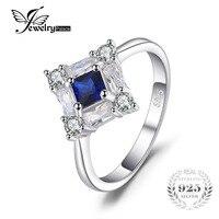 JewelryPalace Achthoekige 1ct Gemaakt Blue Sapphire Ringen Voor Vrouwen Echt 925 Sterling Zilveren Engagement Wedding Fijne Sieraden
