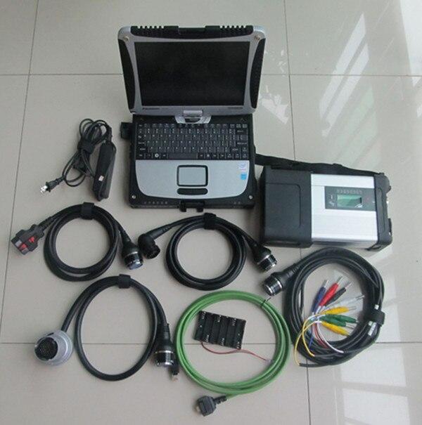 Diagnostic mb star c5 sd connexion sans fil avec CF19 pour ordinateur portable panasonic installé mb star C5 logiciel V2019.5 dans une boîte en aluminium