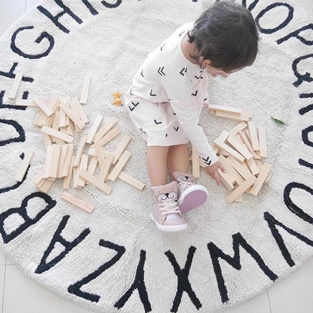Handmade ABC Alphabet Kids Crawling Mat Super Soft Cotton Fabric Educational Non-Slip Nursery Rug Best Play Mat Carpet For Kids