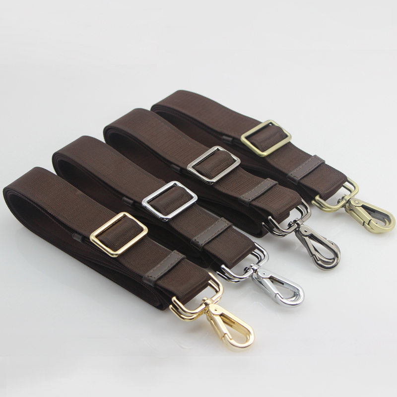 DIY Adjustable 165cm Replacement Brown Fabric Shoulder Bag Straps With Gold, Silver, Bronze, Gun Black Buckles 25mm, 33mm, 38mm