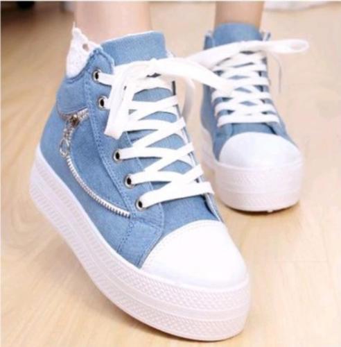 45e1f5dd Arriba Zapatillas Las gris Claro Dedo Del Mujeres Zapatos Dulce De blanco  Plataforma Casuales verde Yifsion Alta Deporte Redondo Azul Pie Lona pwvqzc