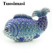 Fancy lovely fish design handmade hard case crystal clutch purses
