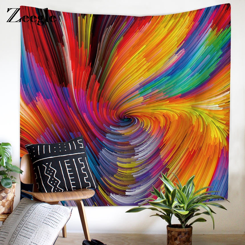 Zeegle Color Swirls Tapestry Wall Hanging Mural Gobelin Living Room Home Decor Sofa Chair Cover Window Door Curtain Beach Towel