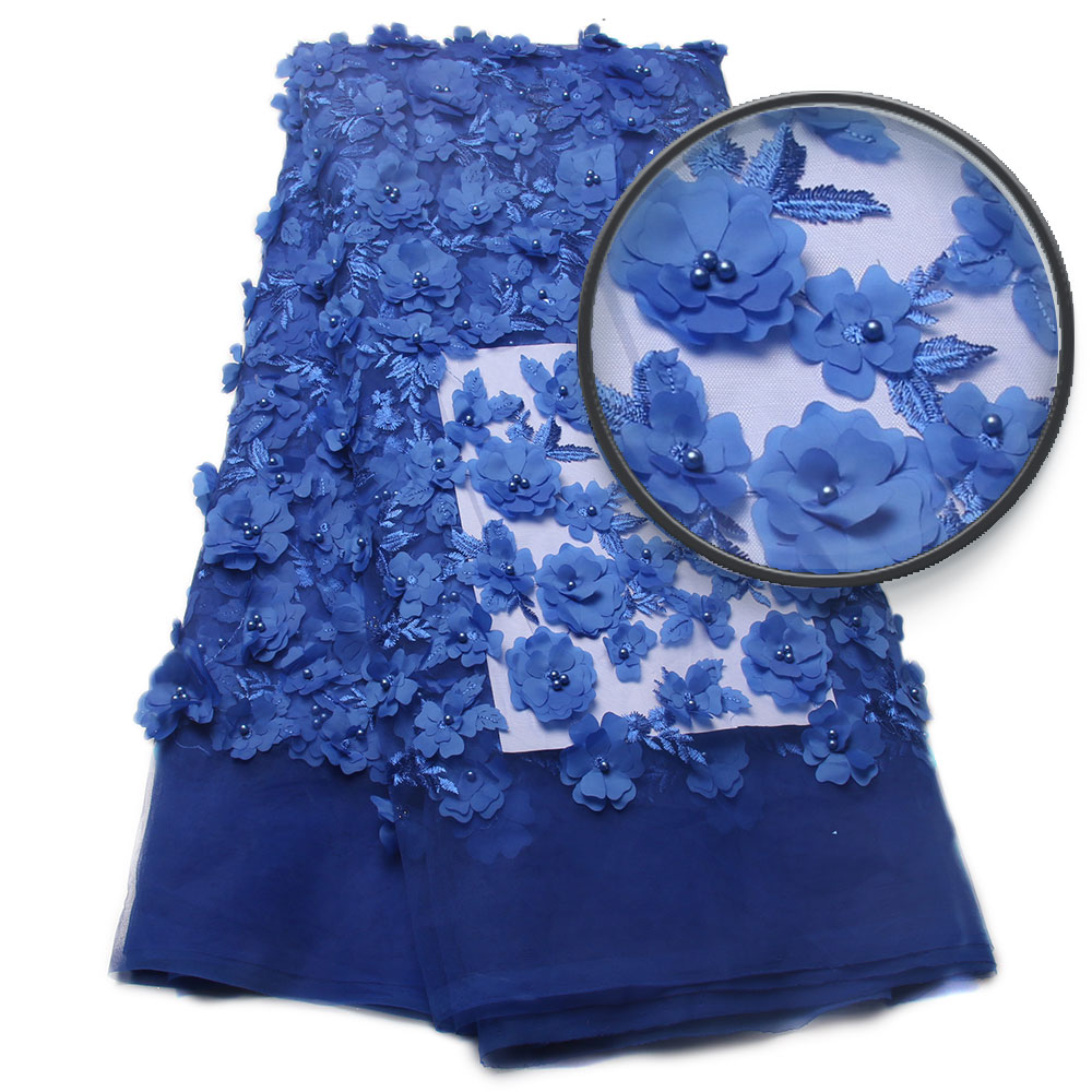 Embroidered Blue Tulle Lace High Quality 3D Fabric Flowers Hot Sale Beaded Lace Fabric XZ810B 5
