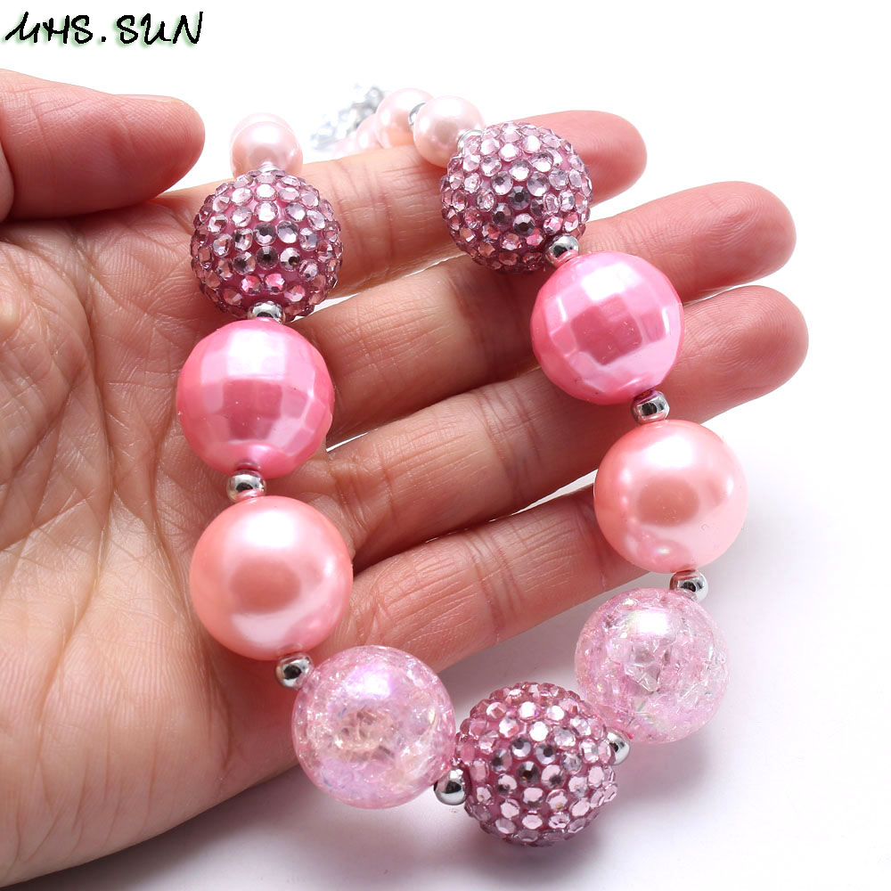 BN623 (13)  Girls Chunky Beads Necklace Fashion Pink Style Baby Child Beads Necklace Charm Trendy Chunky Bubblegum Jewelry Newest