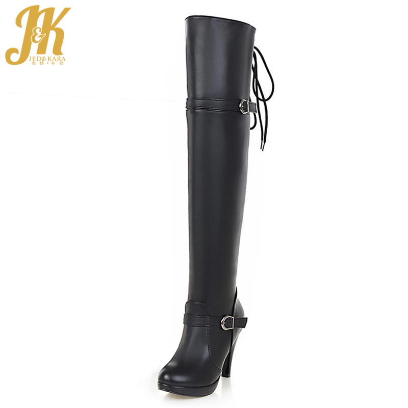 Big Size 34-43 2017 Buckle Charm Thigh High Boots Women Slip On Platform High Heels Shoes Woman Add Fur Fall Winter Boots big size 34 43 lady s ankle boots women add fur fall winter boots platform square high heels rubber sole shoes woman