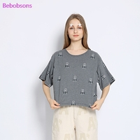 Women Casual T Shirts Dovetail Clamps Printed Short Batwing Sleeve O Neck Gray Short Tops Tees