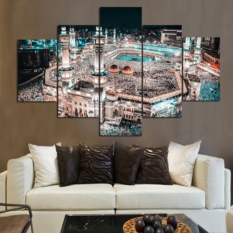 Modular home decor canvas high quanlity 5 panel muslim - Mobile home interior wall paneling ...