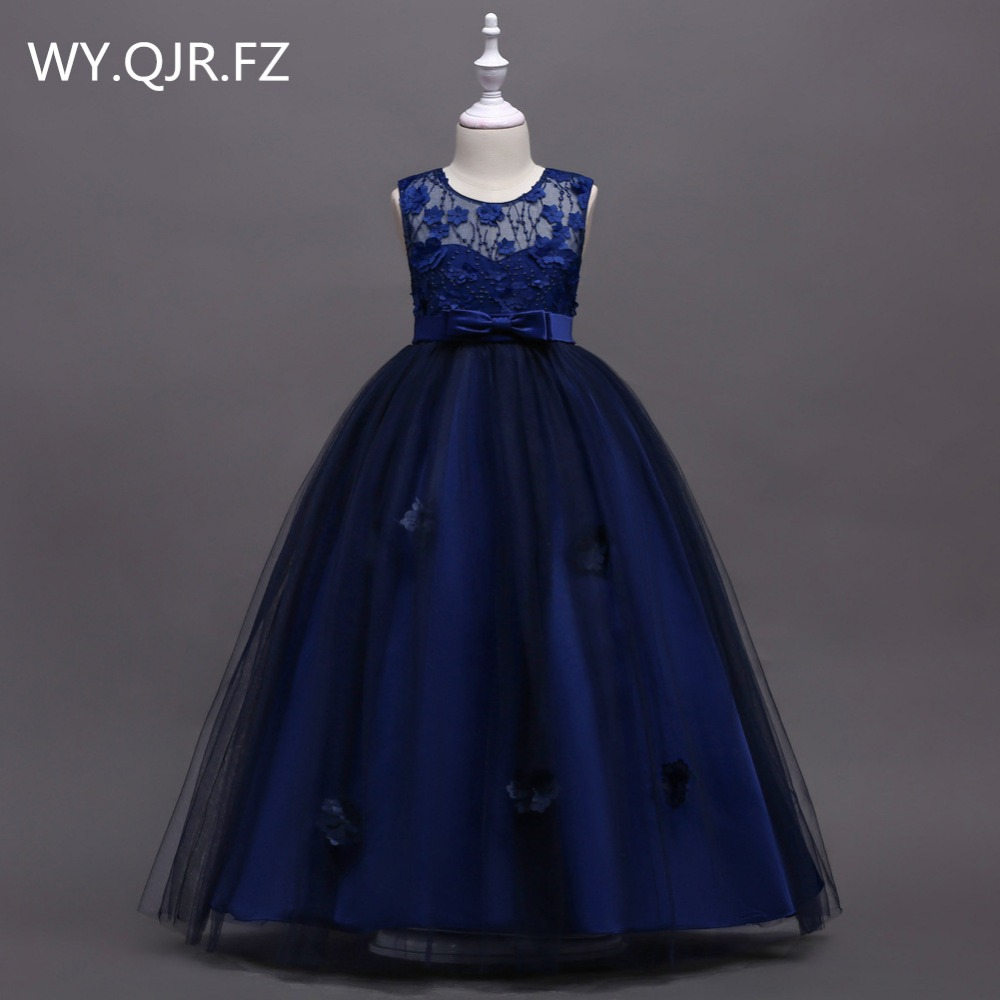 BH591Z#Navy blue Bubble skirt Princess performance   Flower     Girl     Dresses   long wedding party prom   dress   wholesale children' clothes