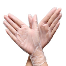 Kitchen cleaning transparent gloves disposable PVC gloves plastic film surgery rubber latex skin glove for baking beauty 100pcs