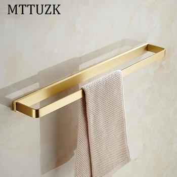 Solid Brass Brushed Gold Square Towel Bar Towel Ring Bathroom Towel Holder Chrome Towel Rack Bathroom Accessories