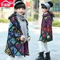 Menina criança outerwear outono 2016 médio-grande espessamento criança meninas de lã casaco de lã de médio-longo algodão-acolchoado roupas