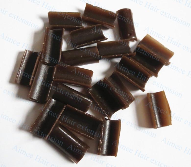 Free Shipping 100pcs Brown Keratin Glue Nail Tip Keratin U-Shaped Fusion Chips Glue Nail Keratin For Prebonded Hair Extension
