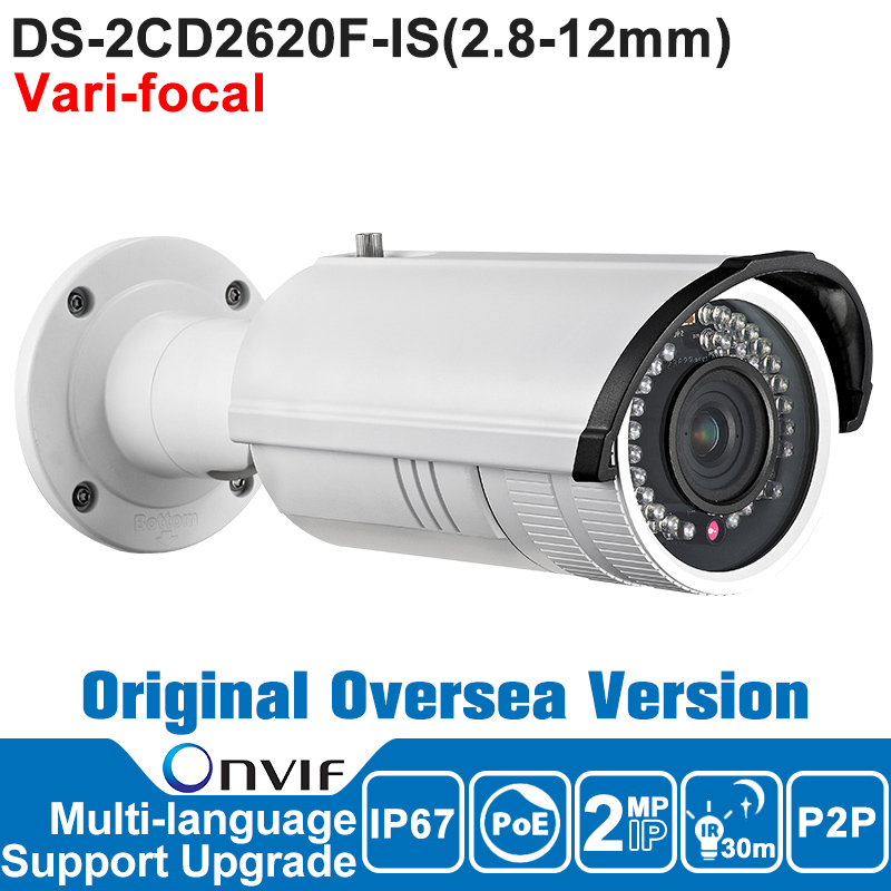 HIKVISION IP Camera 2MP DS-2CD2620F-IS 2.8-12mm IP Camera 1080P POE Vari-focal IR Bullet Security Outdoor Camera hikvision ds 2de7230iw ae english version 2mp 1080p ip camera ptz camera 4 3mm 129mm 30x zoom support ezviz ip66 outdoor poe