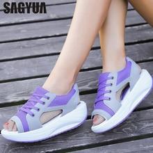 SAGYUA Candy Элегантная летняя женская мода Sandal Handmade Mujer Peep Toe Lace Up Swing Rocking Flat Shoes Слайды Zapatillas T321