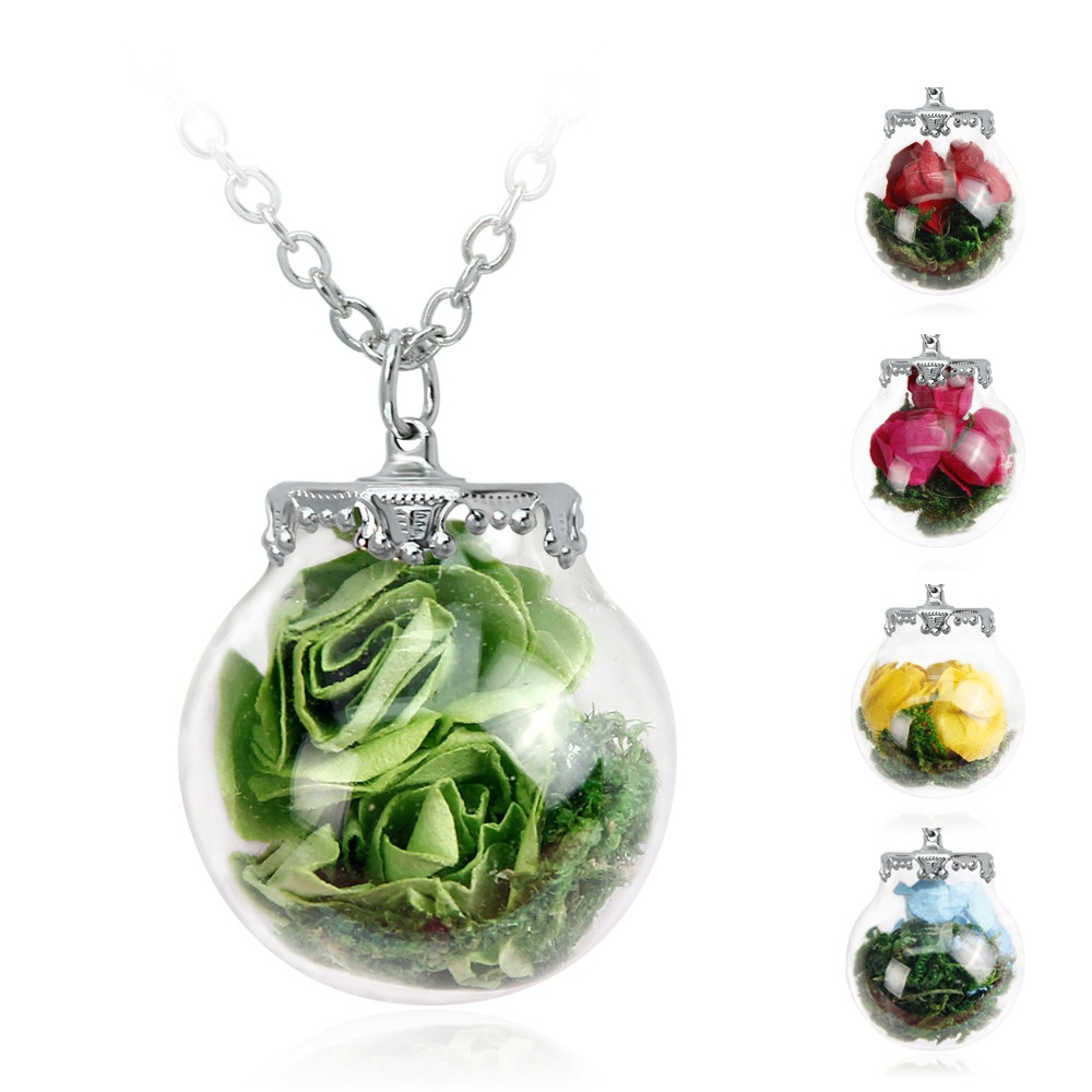 1pcs Nice Rose Dried Flower Necklace Paper Rose Flowers Glass Bottle