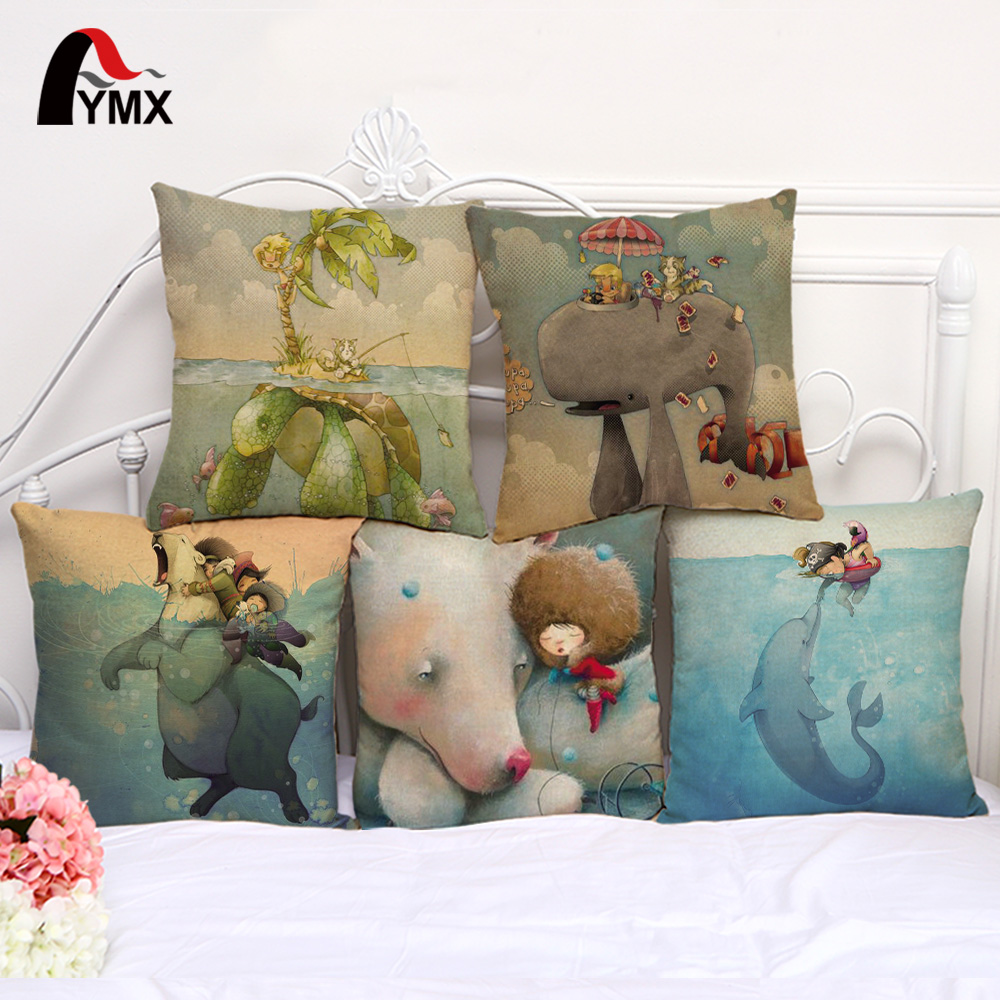 45*45cm Creative Cartoon Cushions Cover Sets of Car Soft Pillowcase Fashion Animal Cotton and Linen Pillow Cases Home Decoration