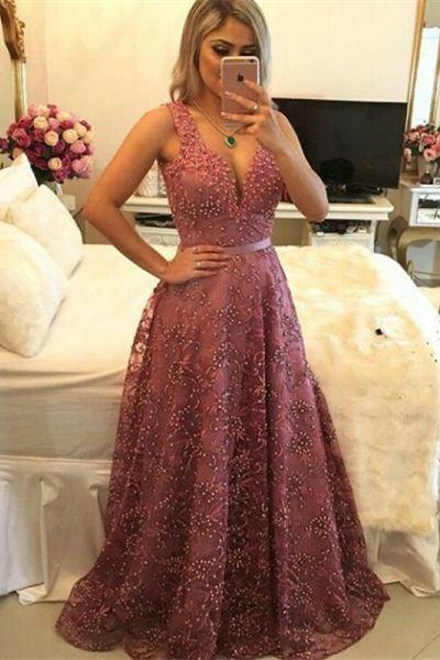 New ELegant Long   Prom     Dresses   V-neck Sleeveless Beaded Lace Evening Party Gown vestidos de festa longo